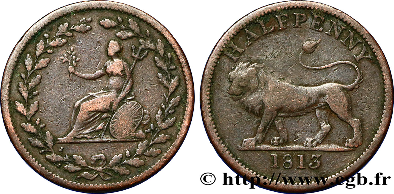 ROYAUME-UNI (TOKENS) 1/2 Penny lion / allégorie du commerce, diamètre 29 mm 1813  TB+