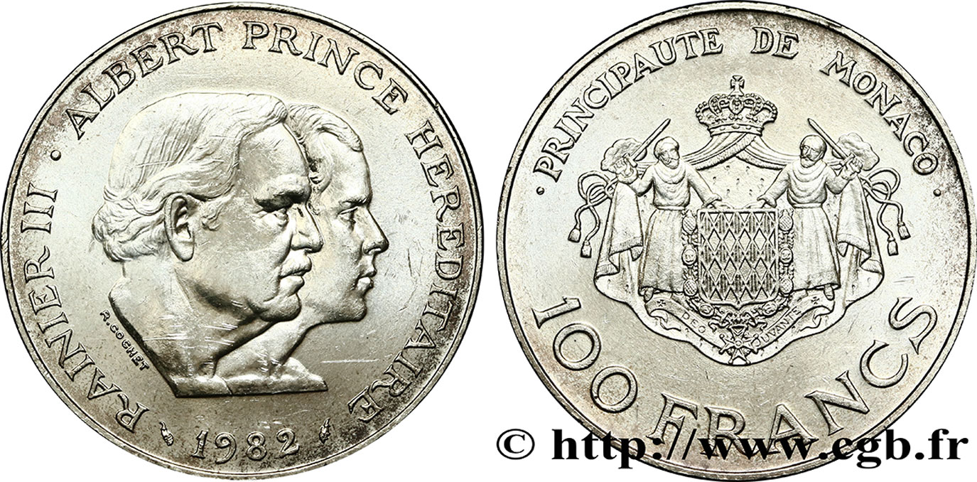 MONACO 100 Francs Rainier III et Albert 1982 Paris SPL