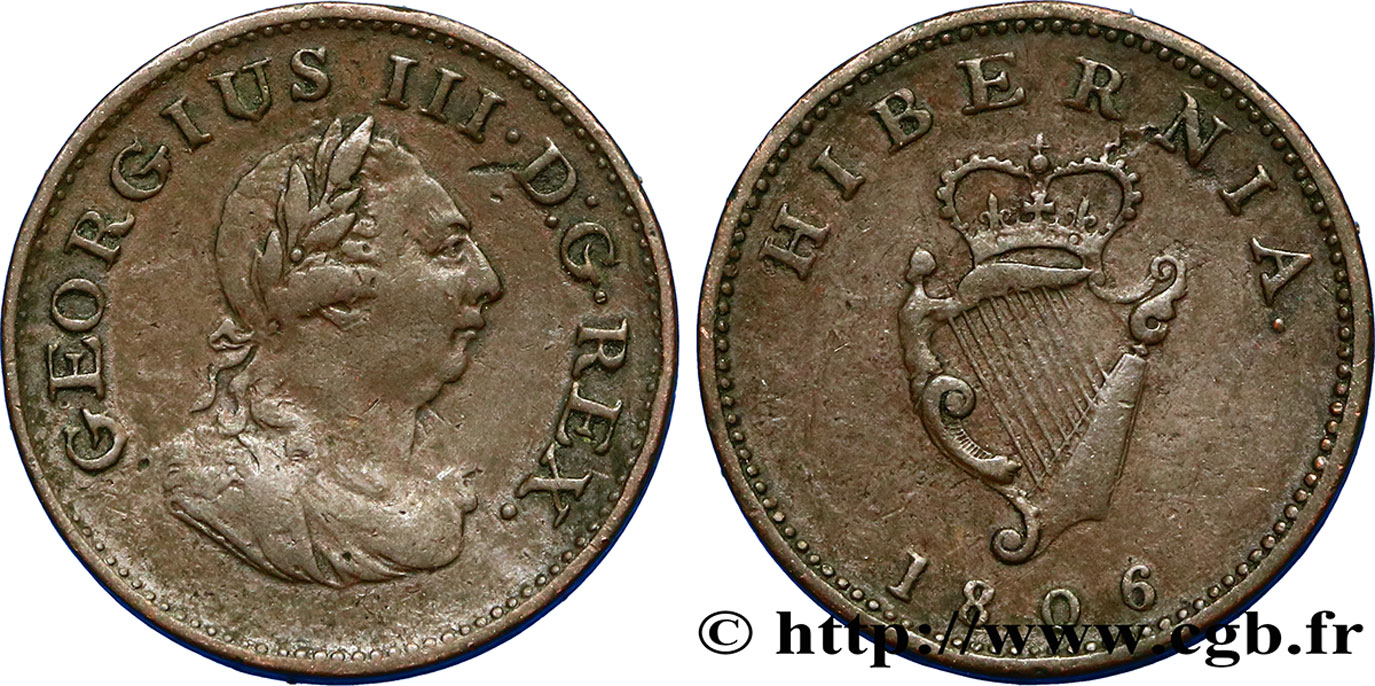 IRLANDE 1 Farthing Georges III 1806  TB+
