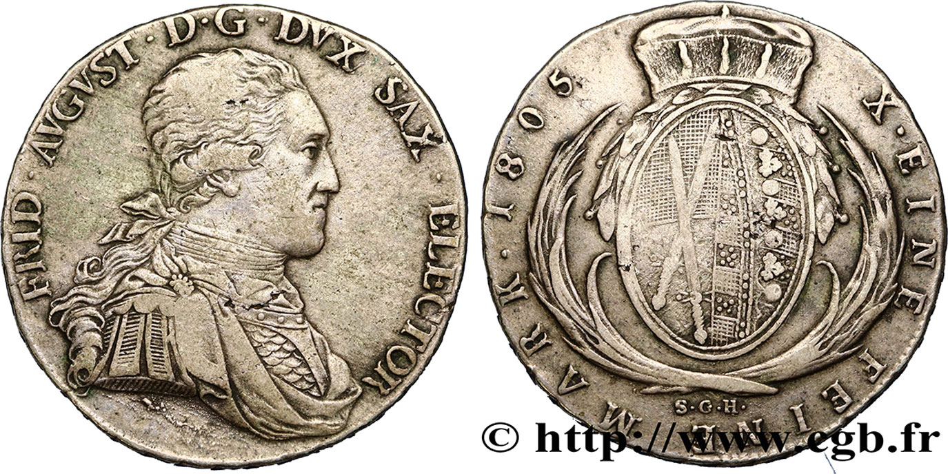 ALLEMAGNE - SAXE Thaler Frédéric-Auguste III 1805  TB+