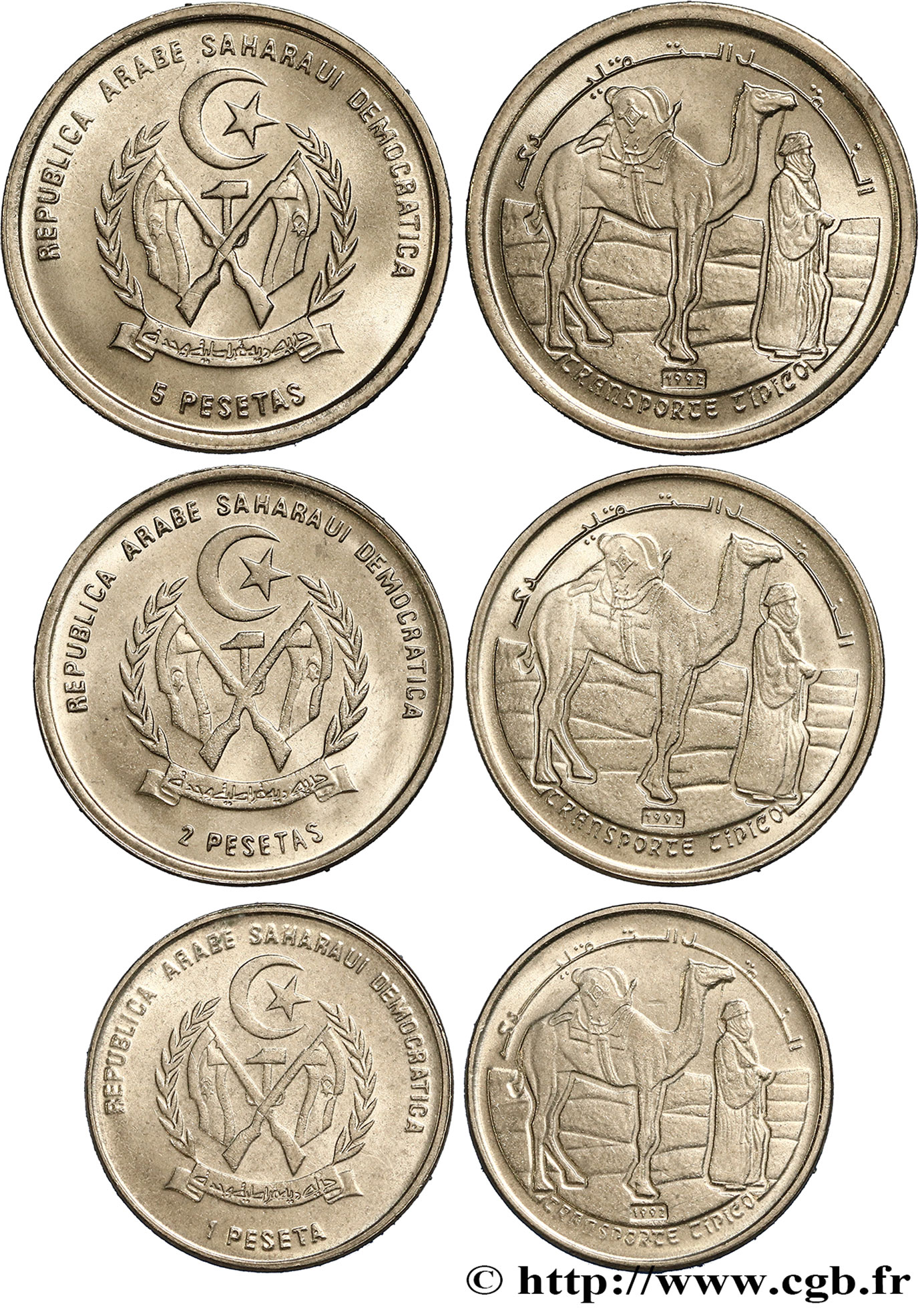 SAHARA OCCIDENTAL Lot de trois monnaies de 1, 2 et 5 Pesetas 1992  SPL