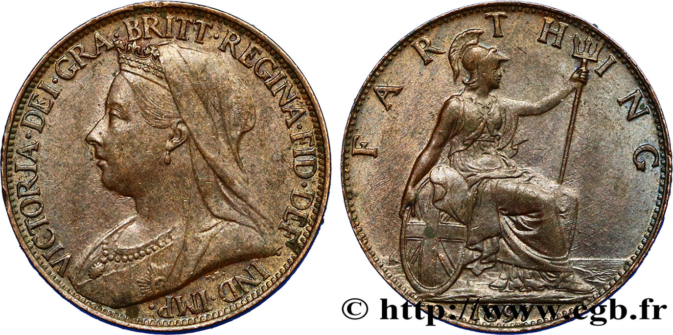 "ROYAUME-UNI 1 Farthing Victoria type ""Old Head"" 1897  SUP"