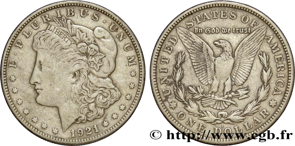 ÉTATS-UNIS D AMÉRIQUE 1 Dollar type Morgan 1921 San Francisco TB+