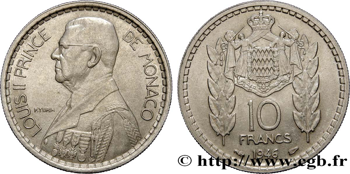 MONACO 10 Francs Louis II 1946 Paris SUP