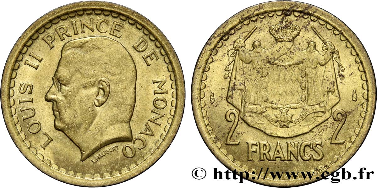 MONACO 2 Francs Louis II (1943) Paris SPL