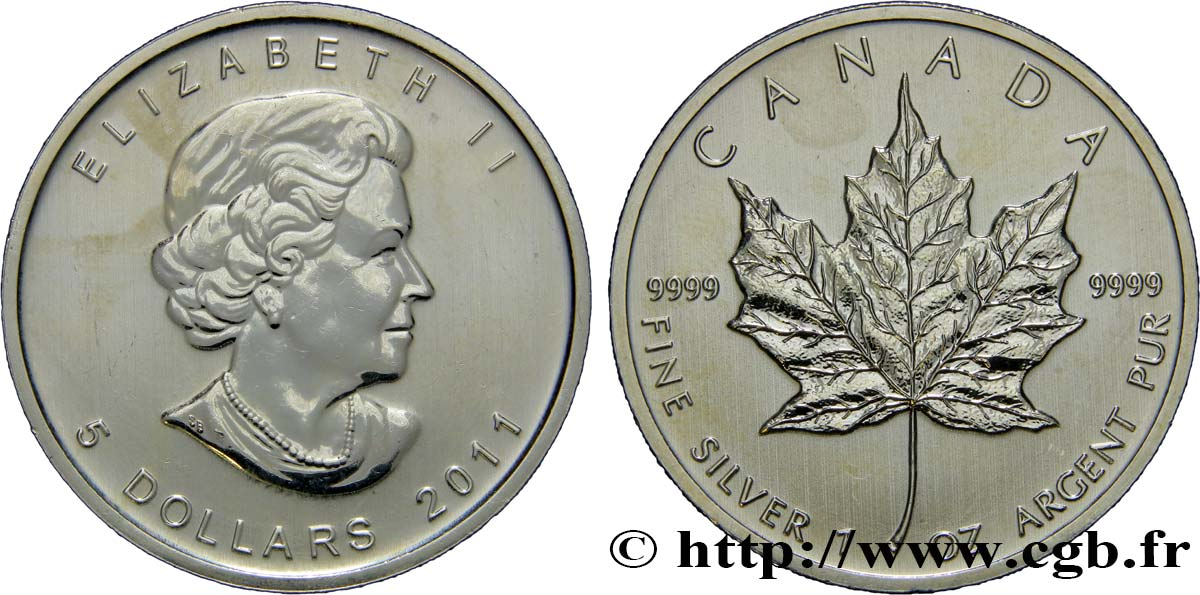 CANADA 5 Dollars (1 once) Proof feuille d'érable 2011  SUP