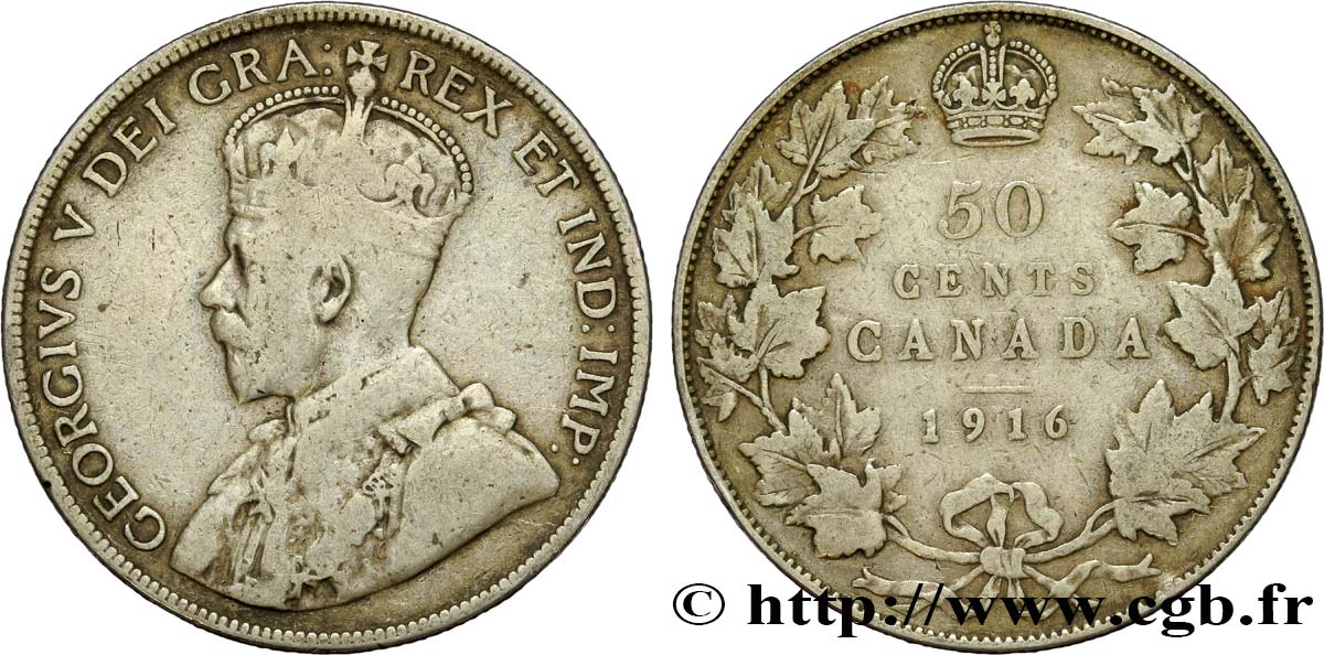 CANADA 50 Cents Georges V 1916  TB+
