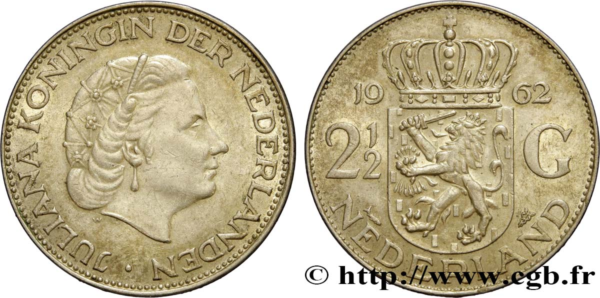 PAYS-BAS 2 1/2 Gulden Juliana 1962 Utrecht SUP