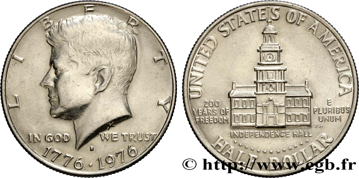 ÉTATS-UNIS D AMÉRIQUE 1/2 Dollar Kennedy / Independence Hall bicentennaire 1976 Denver SUP