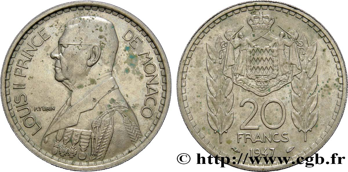 MONACO 20 Francs prince Louis II 1947 Paris SUP