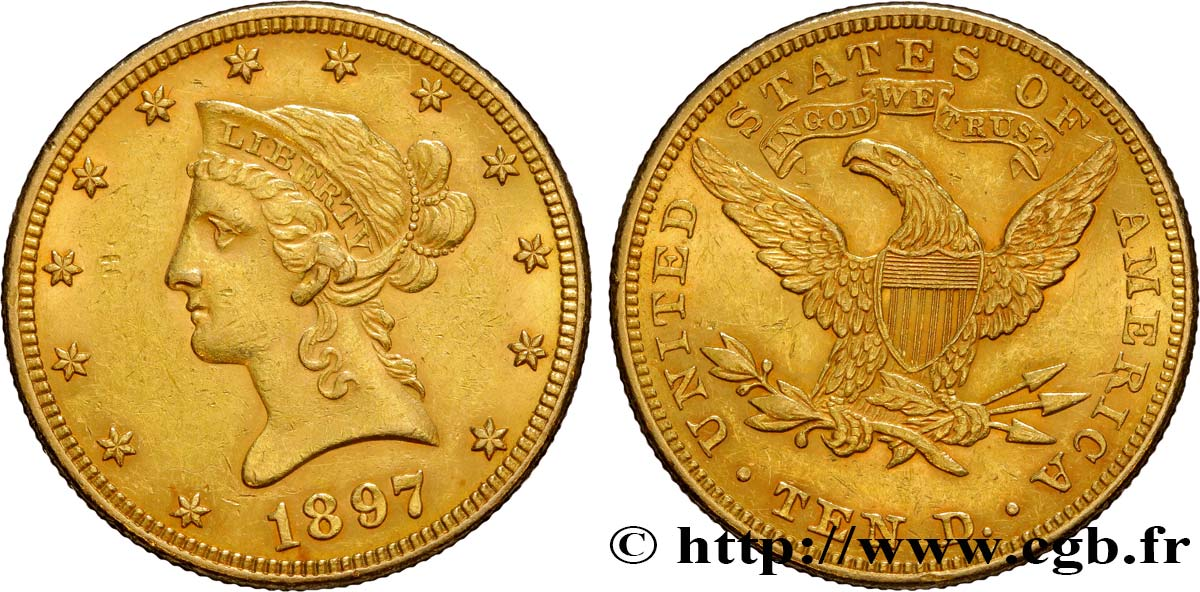 ÉTATS-UNIS D AMÉRIQUE 10 Dollars or  Liberty  1897 Philadelphie TTB+