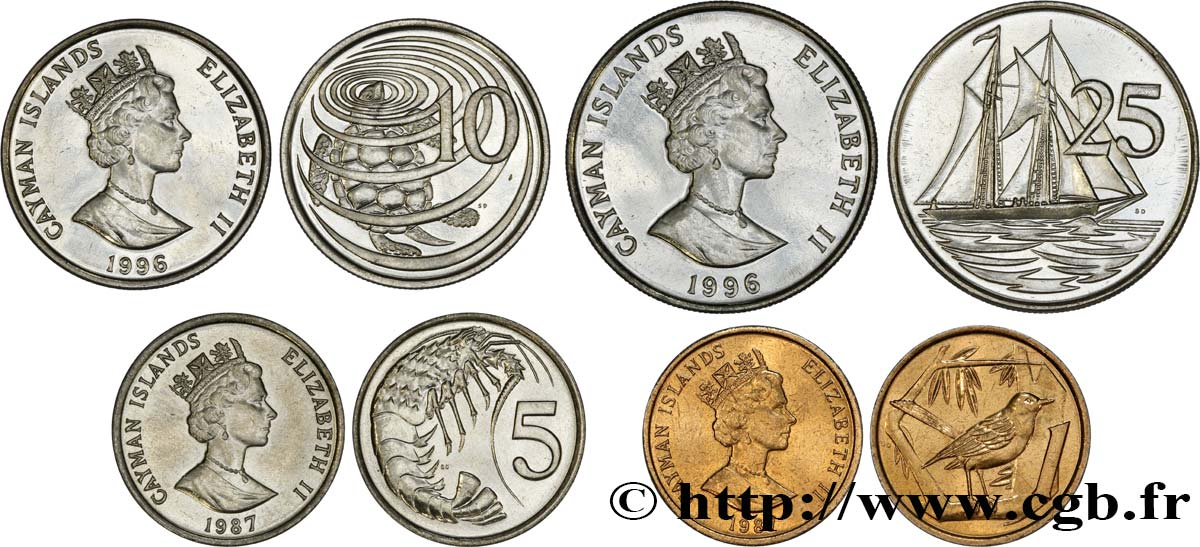 ÎLES CAIMANS Lot de 4 monnaies 1, 5, 10 et 25 Cents 1987-1996 Cardiff, British Royal Mint SPL