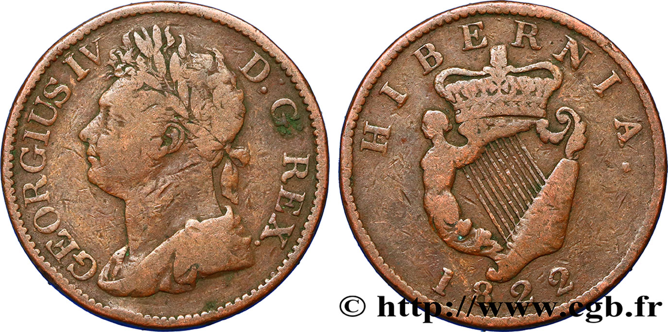IRLANDE 1/2 Penny Georges IV 1822  TB