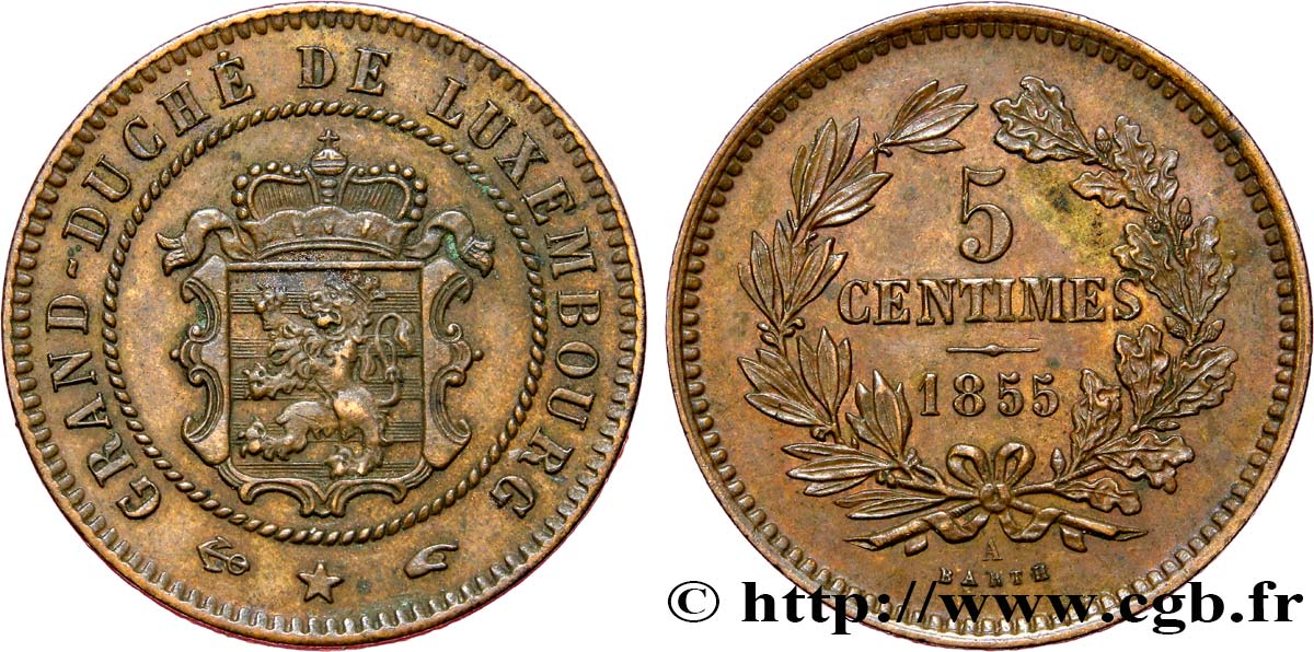 LUXEMBOURG 5 Centimes 1855 Paris SUP