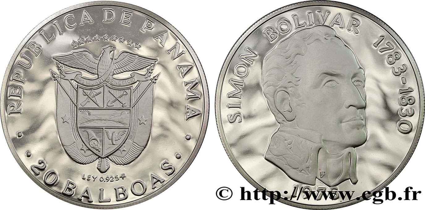 PANAMA 20 Balboas Simon Bolivar Proof 1975  SPL