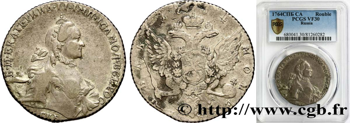 RUSSIA - CATHERINE II Rouble 1764 Saint-Pétersbourg VF30 PCGS