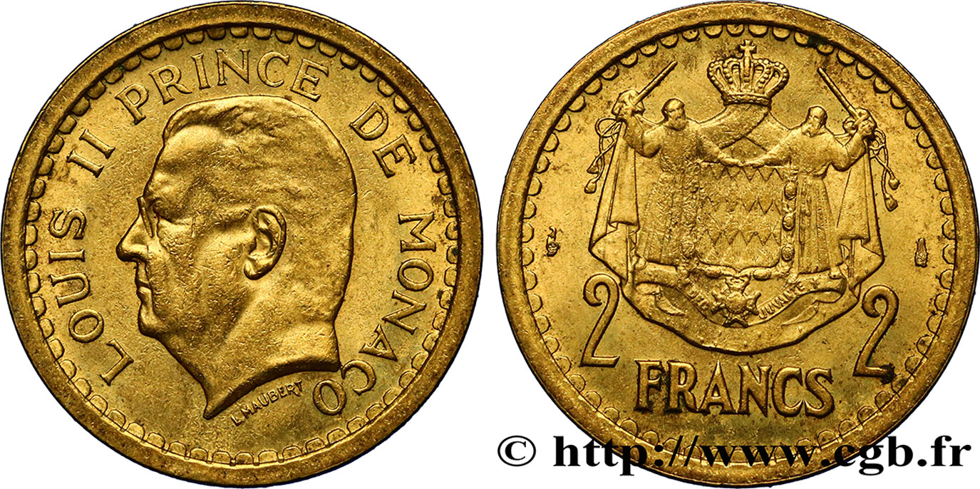 MONACO 2 Francs Louis II (1943) Paris SUP