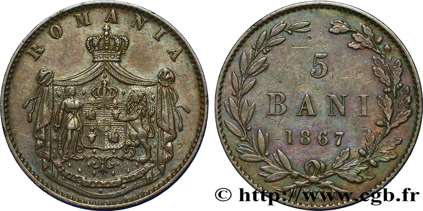 ROUMANIE 5 Bani 1867 James Watt & Co TTB