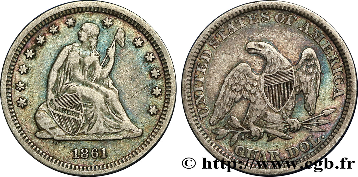 "ÉTATS-UNIS D AMÉRIQUE 1/4 Dollar ""Seated Liberty"" 1861 Philadelphie TB+"