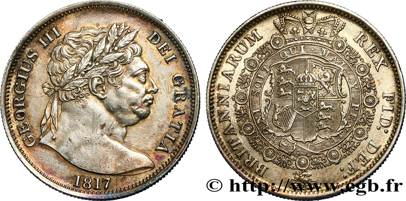 ROYAUME-UNI 1/2 Crown Georges III 1817  SUP