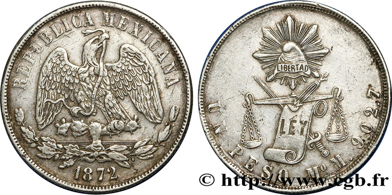MEXIQUE 1 Peso aigle 1872 Mexico TTB