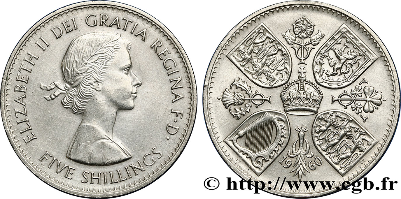 ROYAUME-UNI 5 Shillings (1 Crown) Elisabeth II 1960  SUP