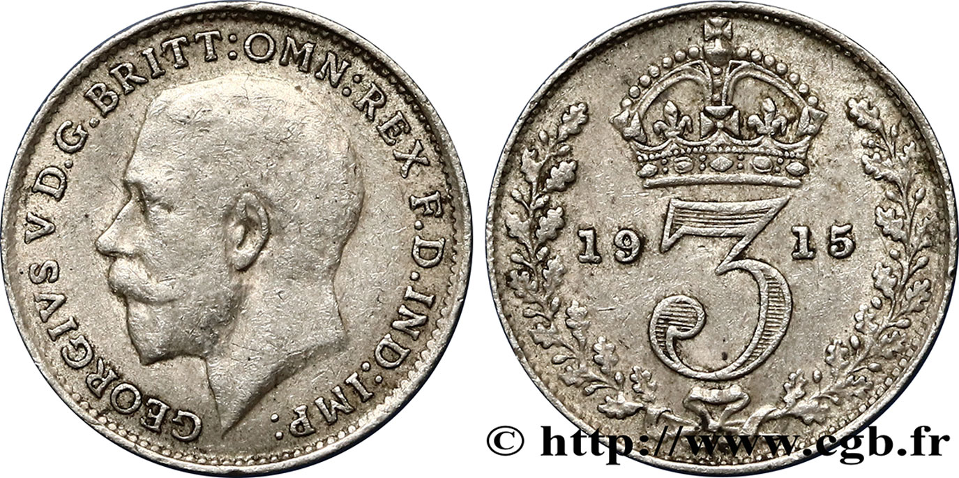 ROYAUME-UNI 3 Pence Georges V / couronne 1915  TTB