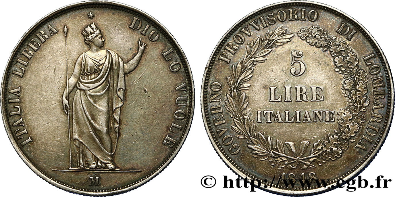 ITALY - LOMBARDY 5 Lire Gouvernement provisoire de Lombardie 1848 Milan XF