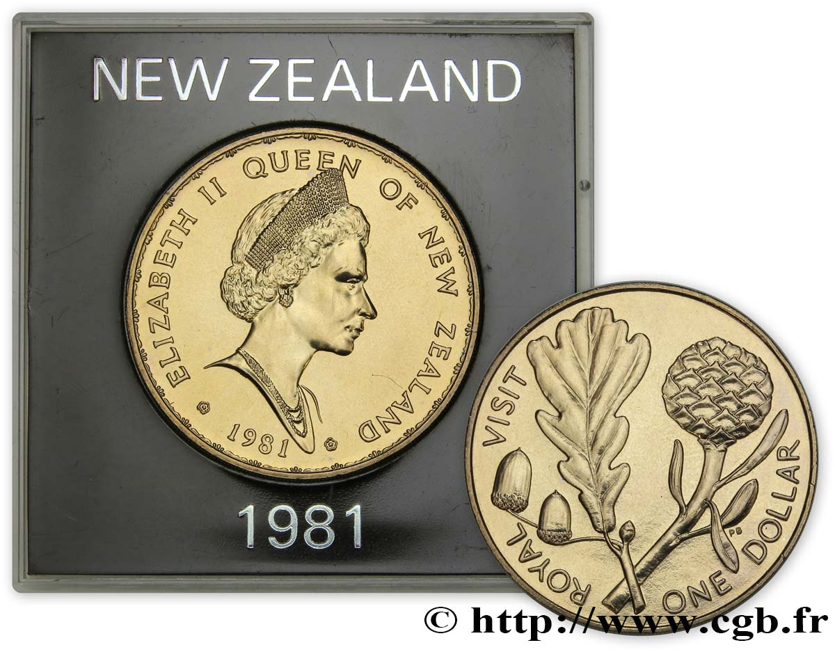 NEW ZEALAND 1 Dollar visite royale d'Elisabeth II 1981 Royal British Mint MS