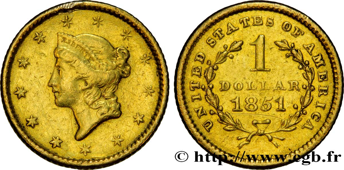 ÉTATS-UNIS D AMÉRIQUE 1 Dollar Or  Liberty head  1er type 1851 Philadelphie TTB