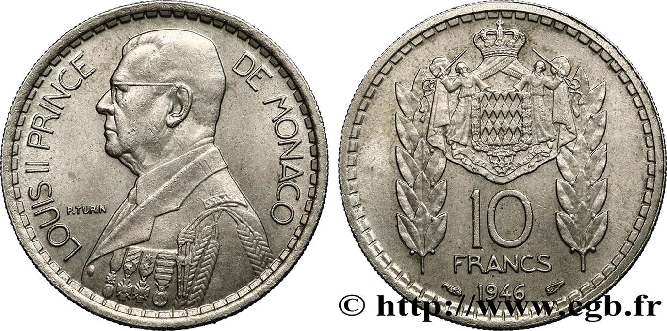 monaco 10 francs louis ii 1946 paris fwo 406836 monde. Black Bedroom Furniture Sets. Home Design Ideas