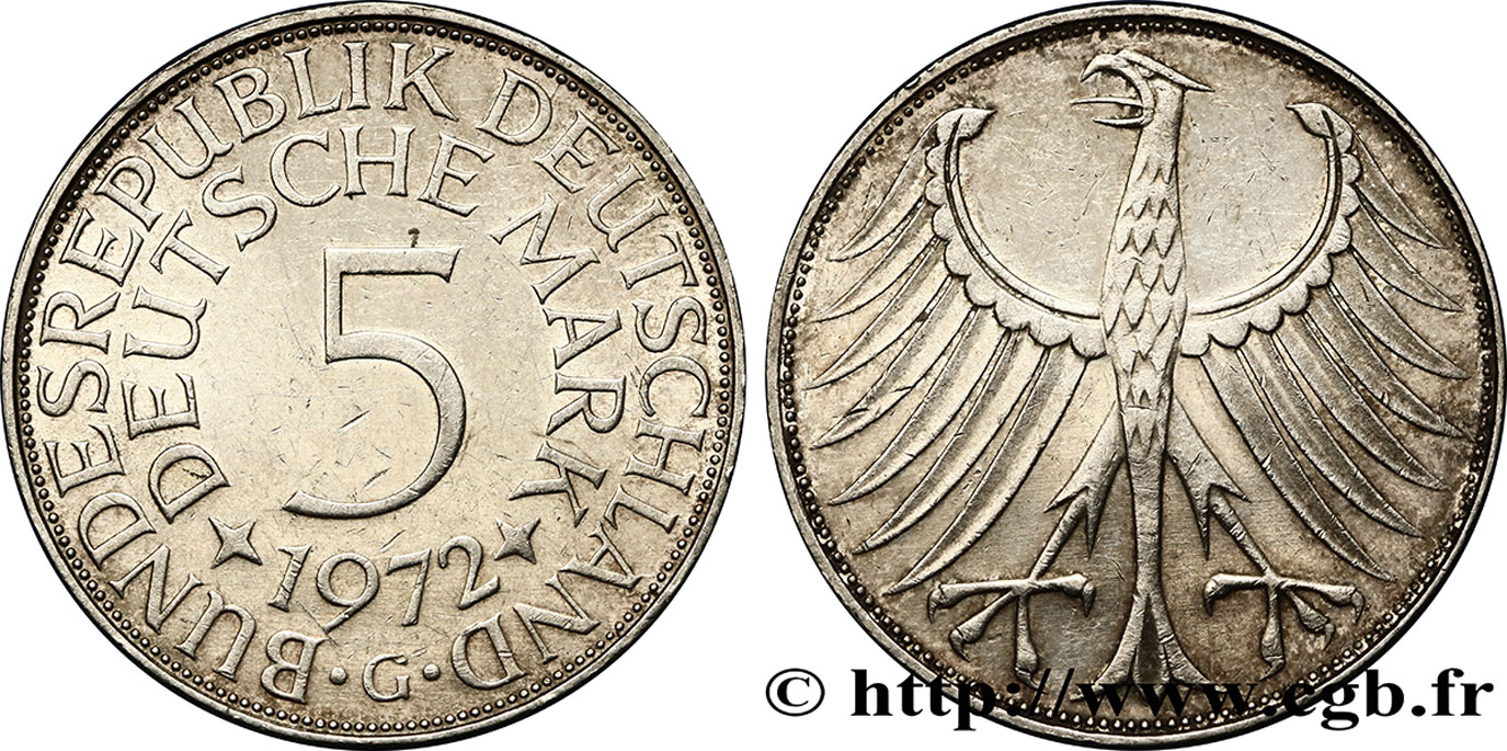 ALLEMAGNE 5 Mark aigle 1972 Karlsruhe - G SUP