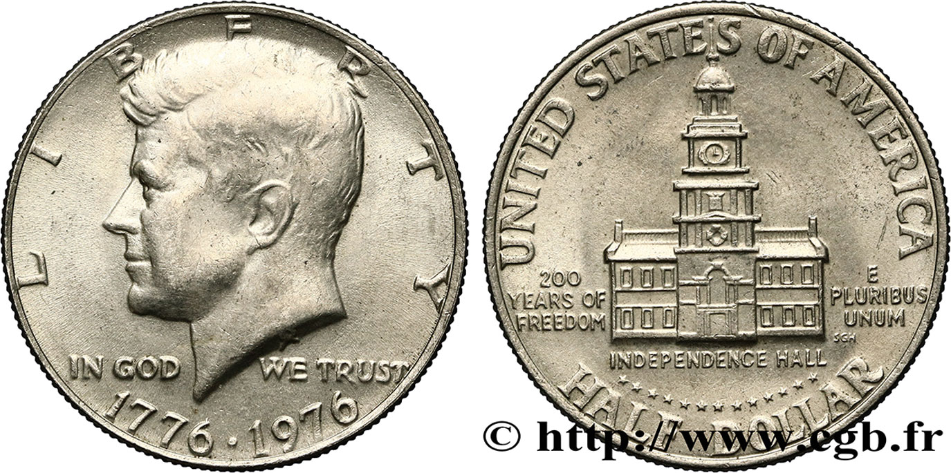 ÉTATS-UNIS D AMÉRIQUE 1/2 Dollar Kennedy / Independence Hall bicentennaire 1976 Philadelphie SUP