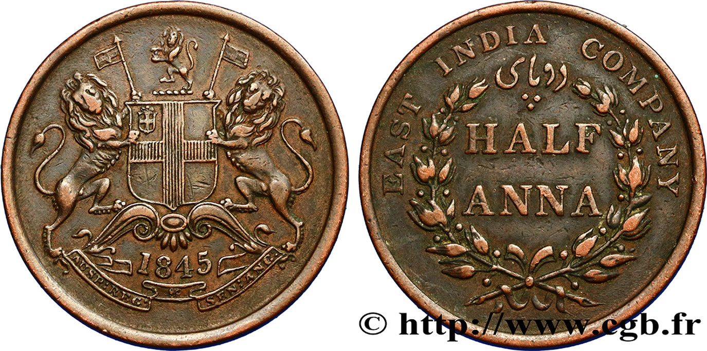 INDES BRITANNIQUES 1/2 Anna East India Company 1845 Calcutta SUP