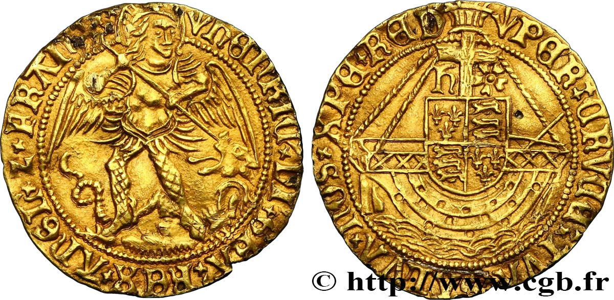 ANGLETERRE - ROYAUME D ANGLETERRE - HENRY VII Ange d'or, type V - retiré/withdrawn 1505-1509 Londres SUP