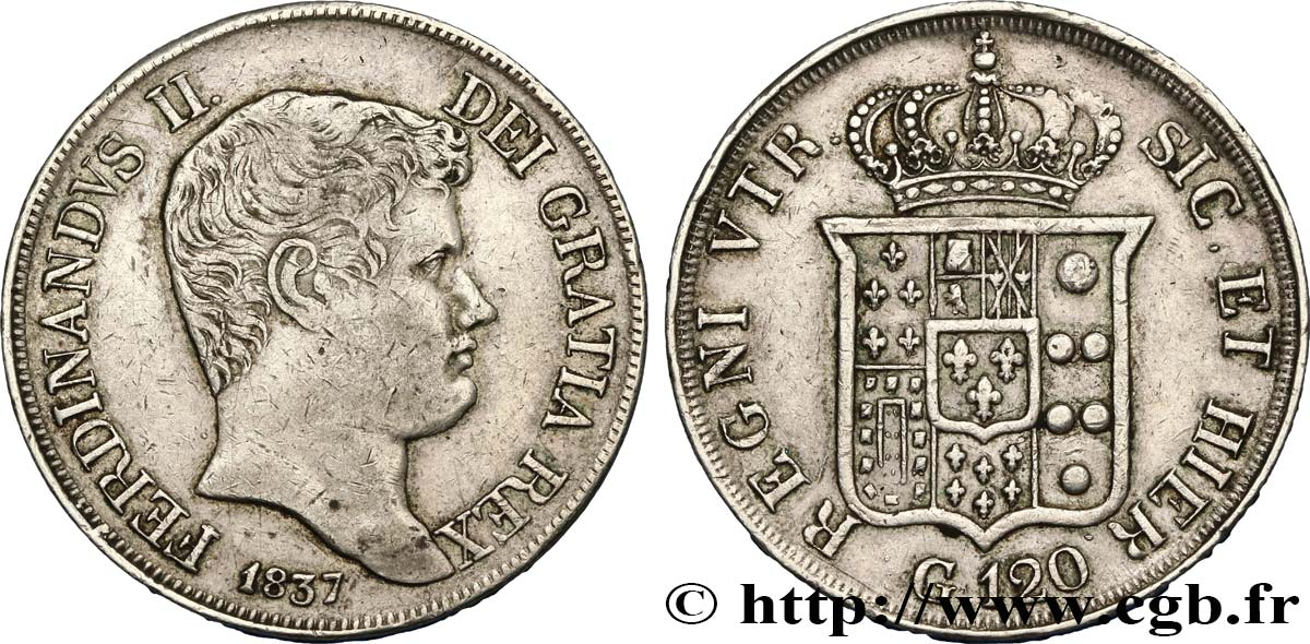 ITALY - KINGDOM OF THE TWO SICILIES - FERDINAND II 120 Grana 1837 Naples XF
