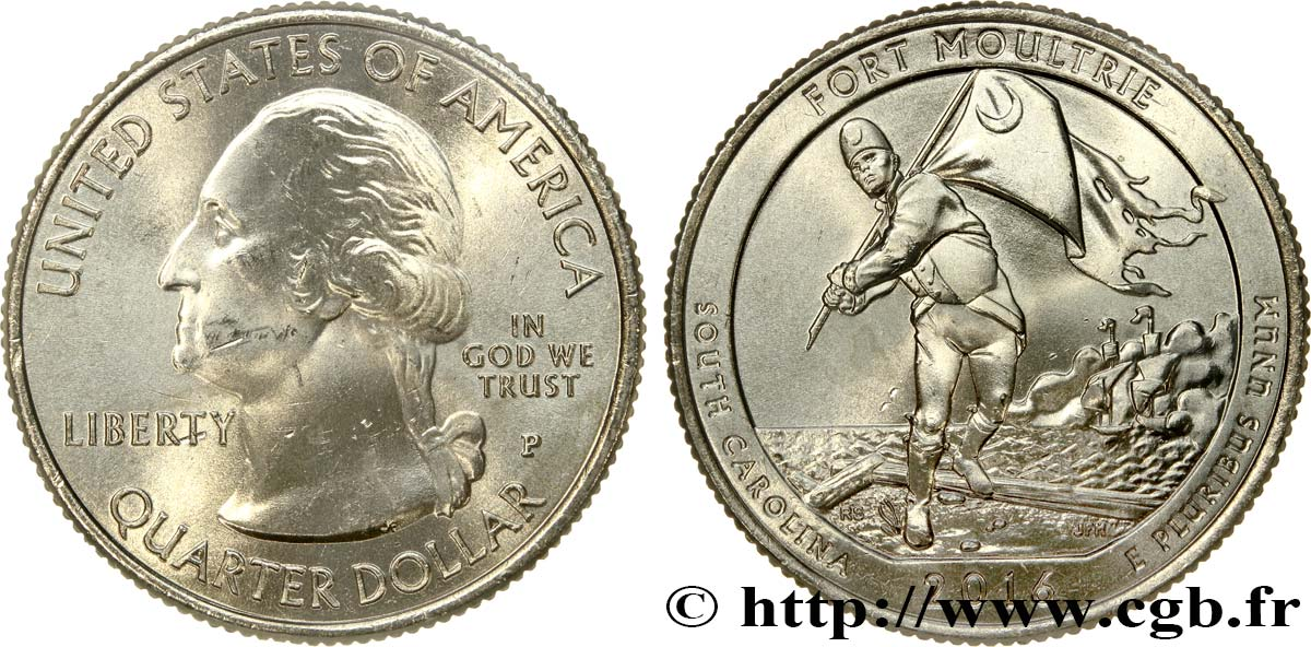 UNITED STATES OF AMERICA 1/4 Dollar Monument National de Fort Sumter (Fort Moultrie) - Caroline du Sud 2016 Philadelphie MS