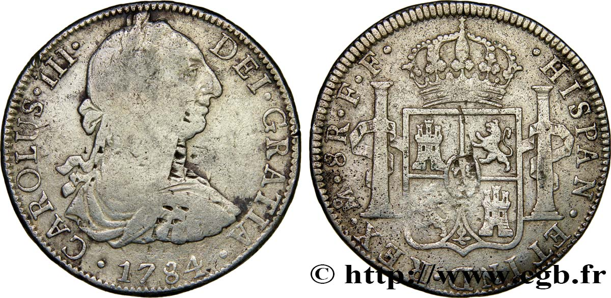 MEXIQUE 8 Reales Charles III 1784 Mexico TB/TB+