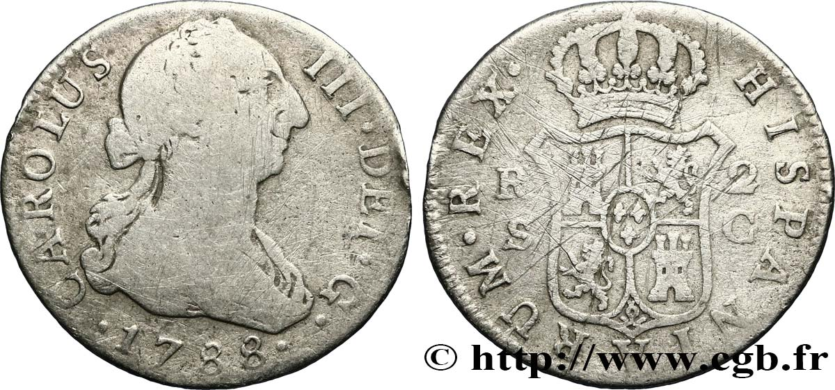 ESPAGNE 2 Reales Charles III 1788 Séville B