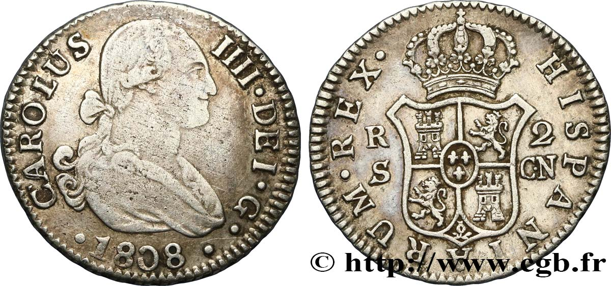 SPAIN 2 Reales Charles IV 1808 Séville VF/XF