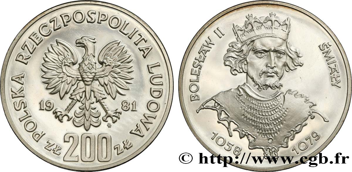 POLOGNE 200 Zlotych Proof XIIIe Jeux Olympiques d'hiver de Lake Placid 1981 Varsovie SPL