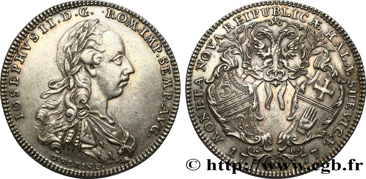 GERMANY - TOWN OF HALL - JOSEPH II 1/2 Thaler 1777 Hall AU/AU