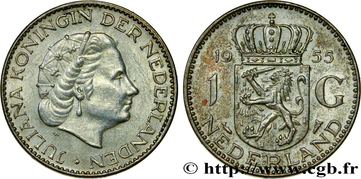 PAYS-BAS 1 Gulden Juliana 1955  SUP