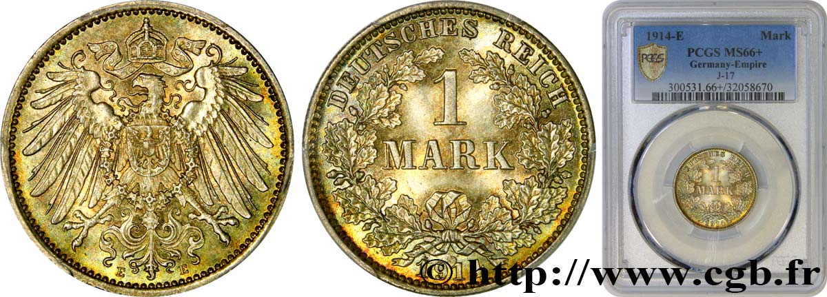 ALLEMAGNE 1 Mark, 2e type 1914 Muldenhütten FDC66 PCGS
