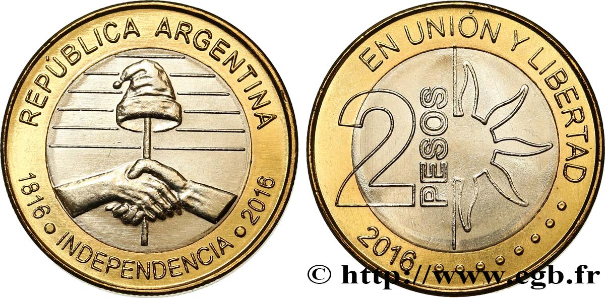 Argentina 2 Pesos Bicentaire De Lindpendance 2016 Fwo437657 World