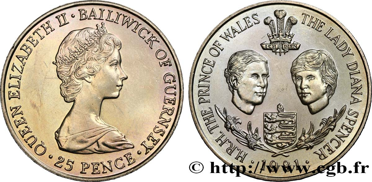 GUERNSEY 25 Pence Mariage Prince Charles et Lady Diana Spencer 1981  MS