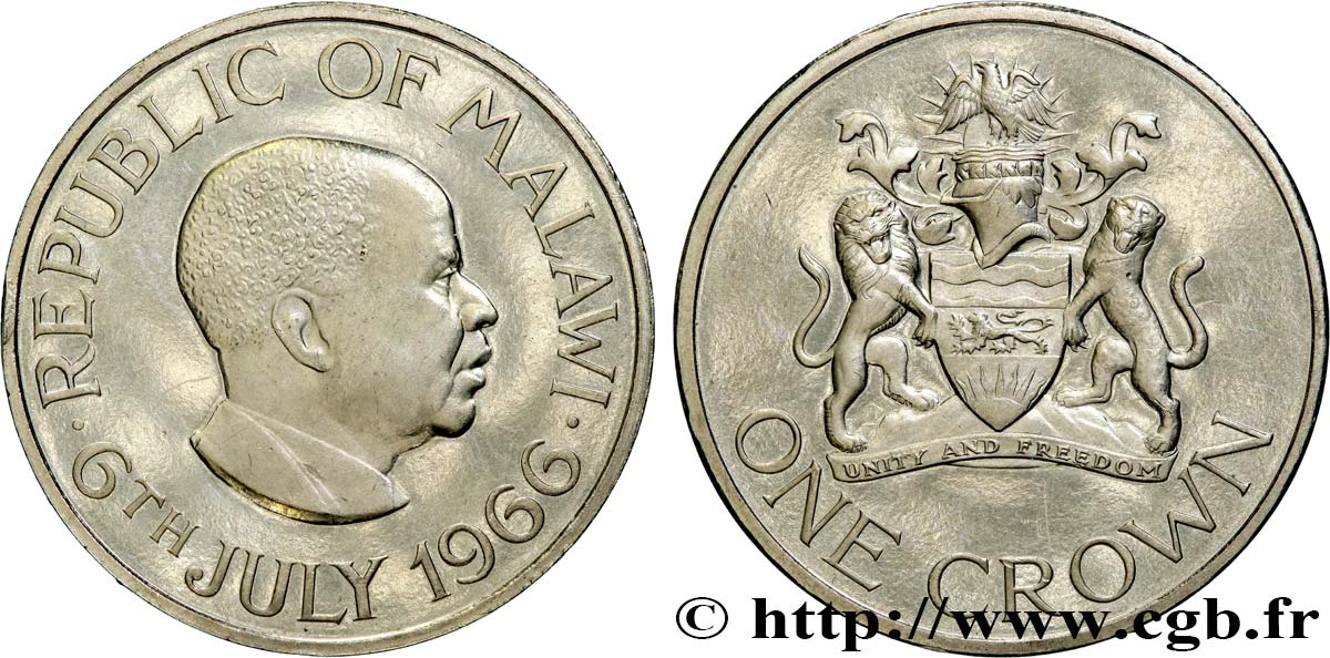 MALAWI 1 Crown Proof Hastings Kamuzu Banda / emblème 1966  SUP