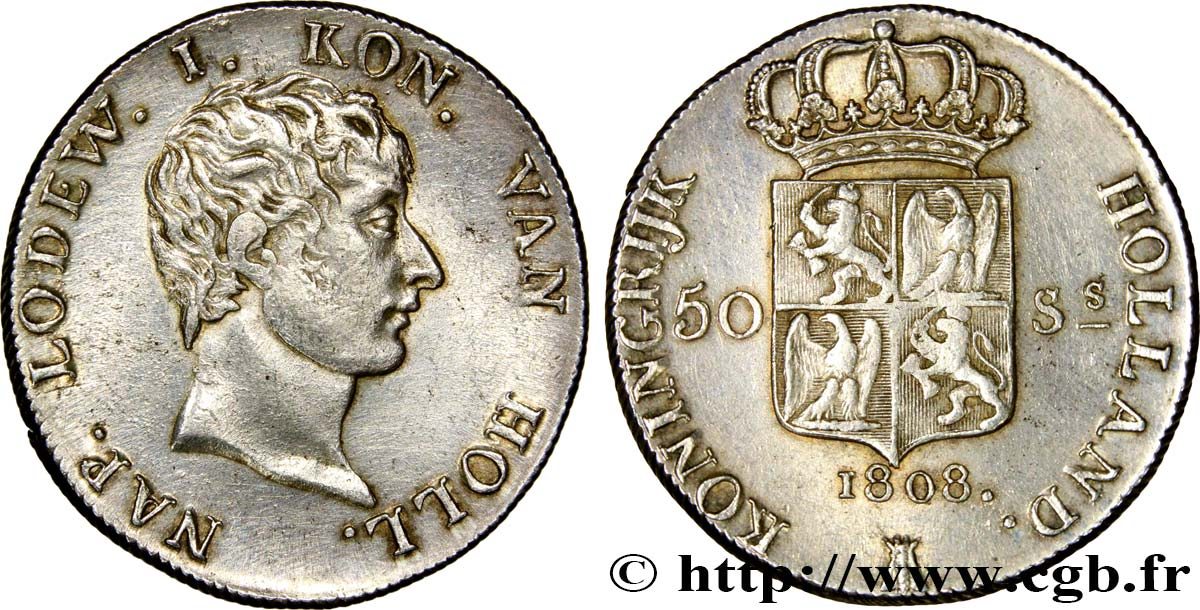 HOLLAND - KINGDOM OF HOLLAND - LOUIS NAPOLEON 50 Stuivers 1808 Utrecht AU