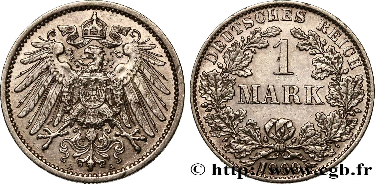ALLEMAGNE 1 Mark Empire aigle impérial 2e type 1909 Berlin SUP