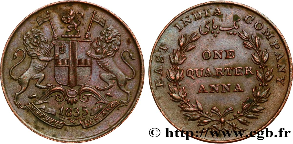 INDES BRITANNIQUES 1/4 Anna East India Company 1835 Calcutta SUP